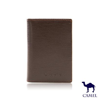 CAMEL - 沉穩內斂系真皮款5卡式名片夾-內斂咖
