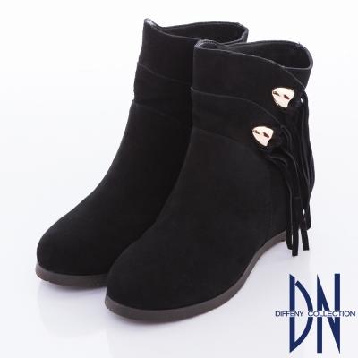 DN 百搭首選 流蘇造型心機內增高短靴 - 黑