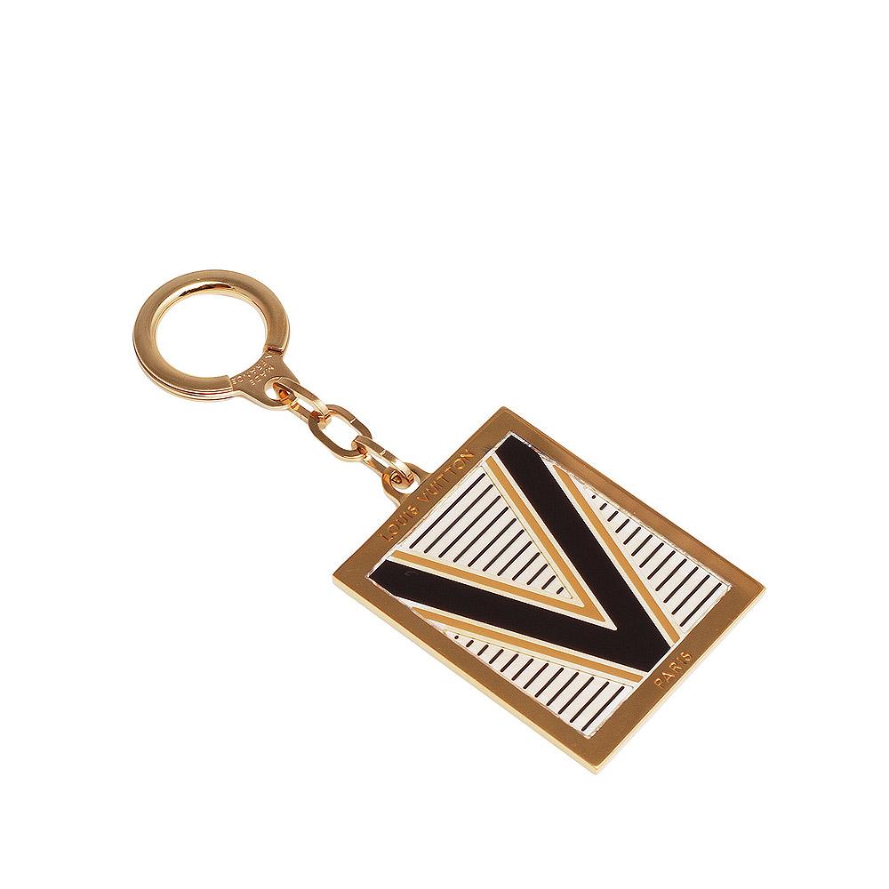 LV M65368 經典大V字母條紋金邊金屬鑰匙圈(黑色)