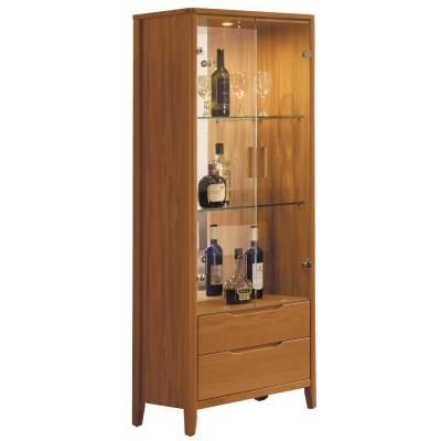 品家居-米蘭朵2尺柚木色展示櫃-64x40x175