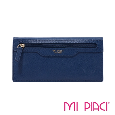 MI PIACI-Jet Set 系列-全皮長錢夾-1086219-藍色