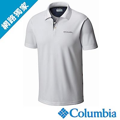 Columbia哥倫比亞 男款-防曬30快排POLO衫 白色 UAE01260WT
