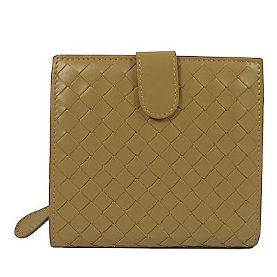 BOTTEGA VENETA經典編織扣式短夾(黃棕色)