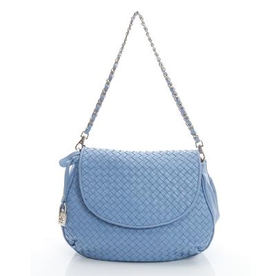 LouiseC-羊皮編織掀蓋包-水藍色05L05