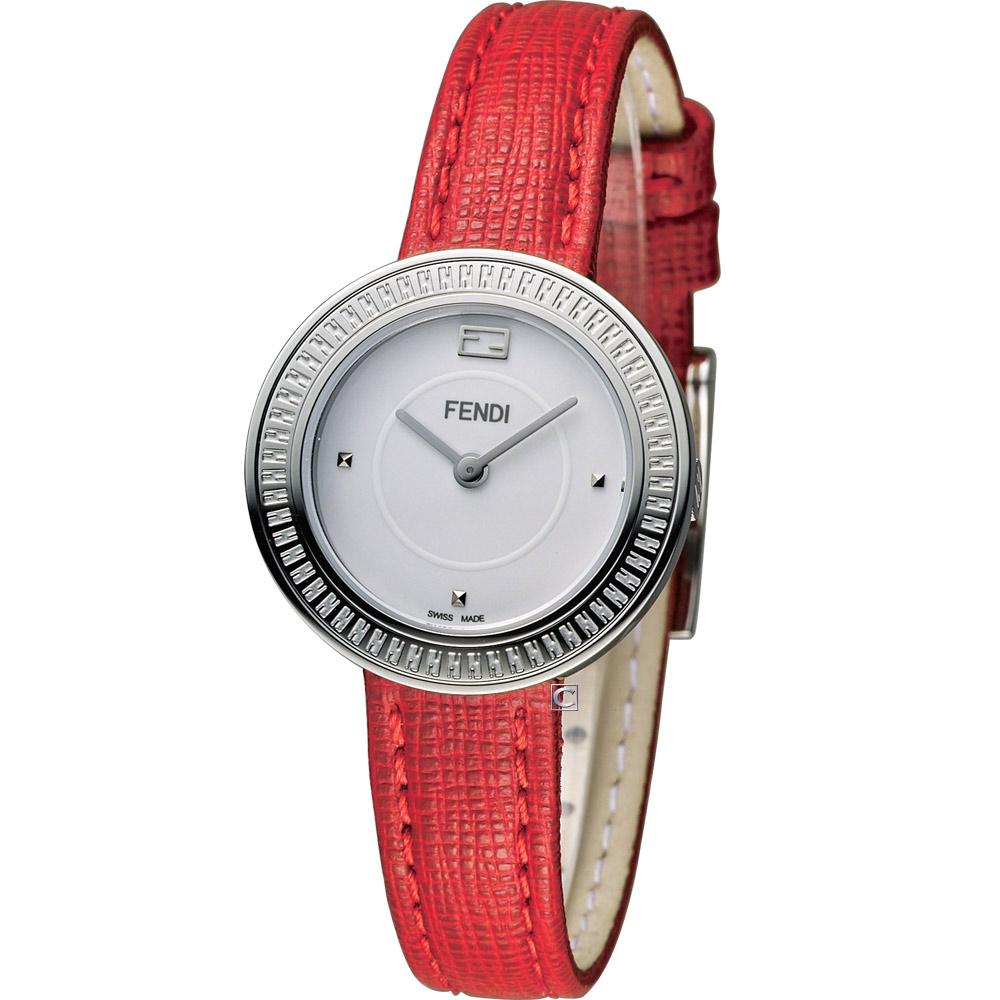FENDI MY WAY 輕盈美學時尚腕錶-白x紅/28mm