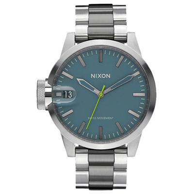 NIXON CHRONICLE 44 太空膠囊交錯時尚腕錶-銀湖水綠X雙色錶帶/44mm