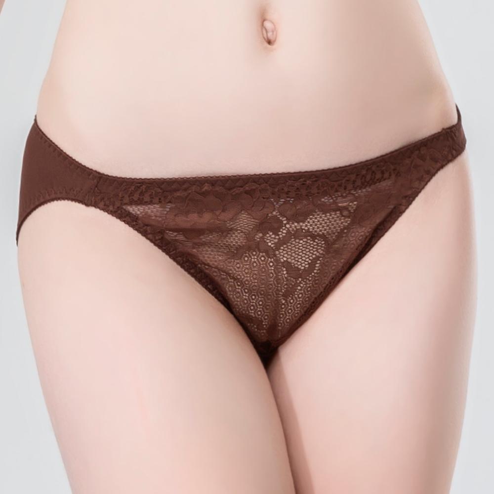 思薇爾 暮夏系列M-XL蕾絲低腰三角內褲(粟褐色)