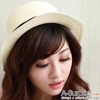 A-Surpriz時尚蝴蝶結平頂草帽(氣質米白)