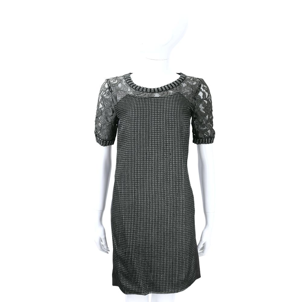 ALBERTA FERRETTI 黑灰色銀蔥拼接蕾絲短袖洋裝