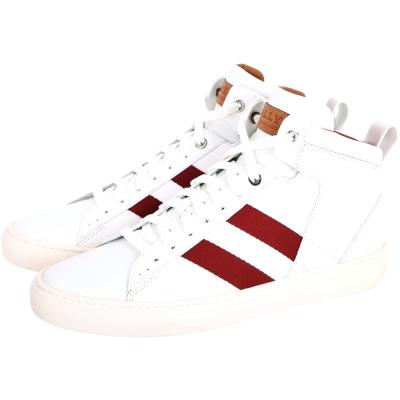 BALLY Hedern 紅白紅織帶高筒休閒鞋(男鞋/白色)