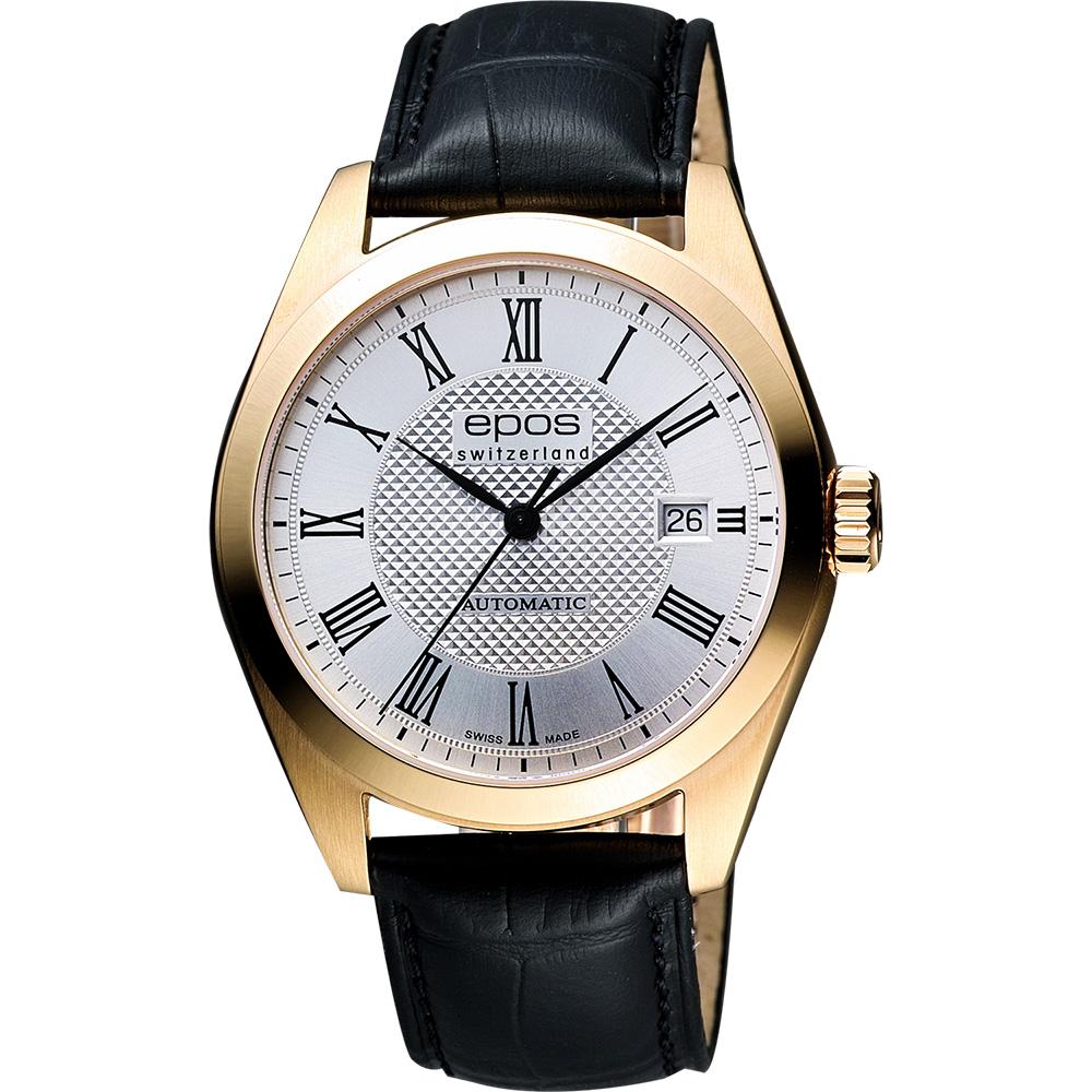 epos 原創系列羅馬機械腕錶-銀X玫塊金框/39mm