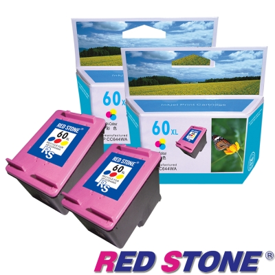 RED STONE for HP CC644WA環保墨匣(彩色×2)NO.60XL 高容量