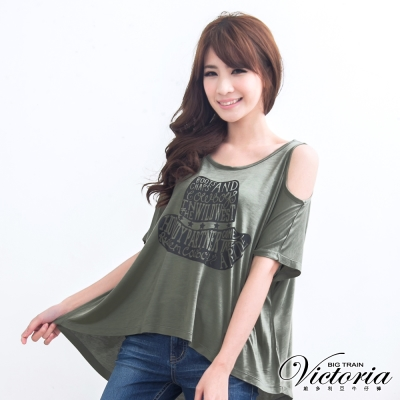 Victoria 露肩帽子圖T-女-灰綠