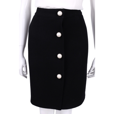 PHILOSOPHY 黑色珍珠釦飾羊毛窄裙(100%LANA)