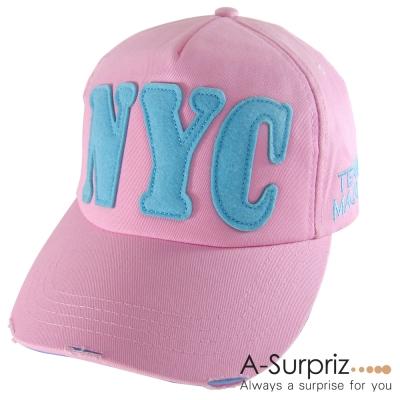 A-Surpriz  帥性美式風字母NYC棒球帽(柔美粉)