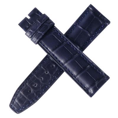 高級進口錶帶摺疊釦專用代用名廠同級高質感深藍色牛皮錶帶-20*18mm