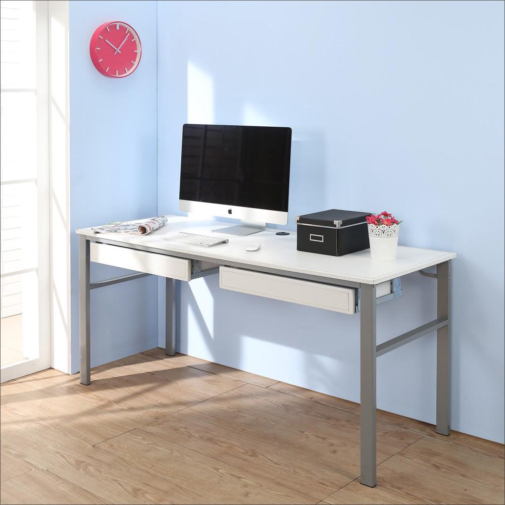BuyJM低甲醛仿馬鞍皮160公分穩重型雙抽屜工作桌-DIY