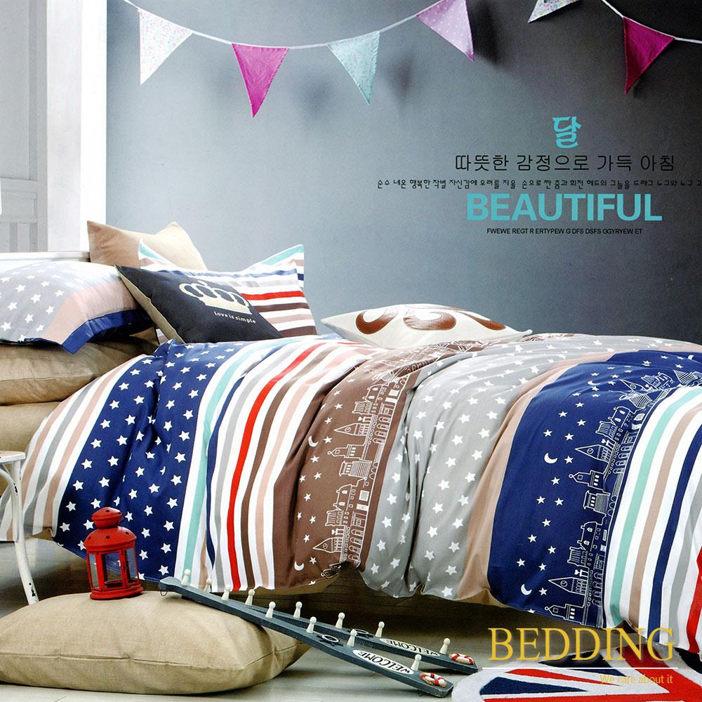 BEDDING 城市星空-藍  100%棉 單人床包枕套 二件式