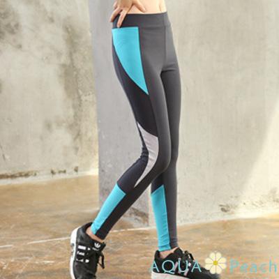 運動褲 幾何色塊拼接薄款合身長褲 (黑色)-AQUA Peach