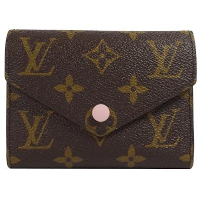 LV M62360 Victorine 經典花紋扣式錢短夾.粉