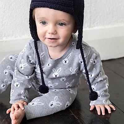 Baby unicorn 灰色針織小兔子圖案長袖連身衣