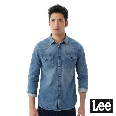 Lee 長袖肩膀拼接牛仔襯衫/101+-男款-藍色