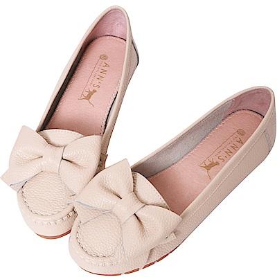 Ann'S甜美造型-可愛大蝴蝶結牛皮平底娃娃鞋-杏
