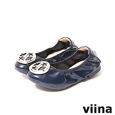 viina-親子鞋系列-LOGO鏡面摺疊鞋(童) -深藍