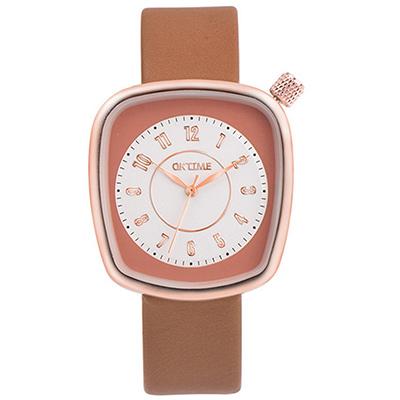 Watch-123 水漾青春-清雅脫俗纖巧方形美手錶-褐色/36x39mm