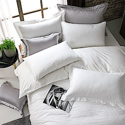OLIVIA  素色緹花條紋 白  標準雙人床包美式枕套組