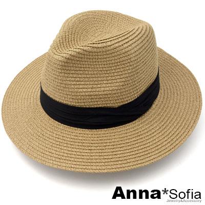 AnnaSofia 黑層摺帶 寬簷防曬遮陽紳士帽爵士帽草帽(駝系)
