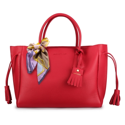 Longchamp Penelope小牛皮流蘇托特包(中)-寶石紅(加贈帕巾)