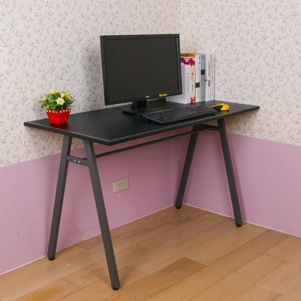 方管A字時尚馬鞍皮面桌/電腦桌-寬120公分(附調整腳墊)
