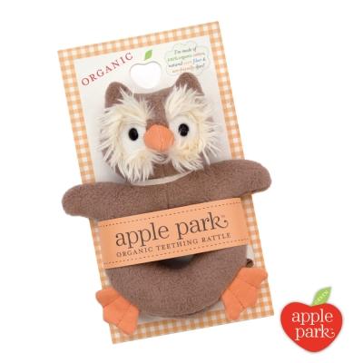 美國 Apple Park 有機棉手搖鈴啃咬玩具 - 貓頭鷹