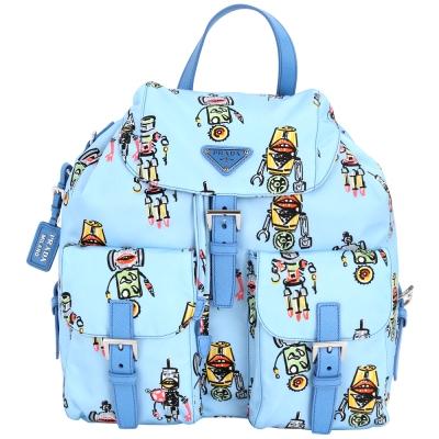PRADA Robot 彩繪機器人圖案雙口袋尼龍後背包(水藍色)