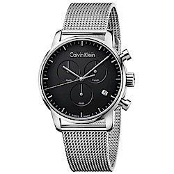 CK CALVIN KLEIN City 都會系列三眼計時黑面米蘭帶手錶-43mm
