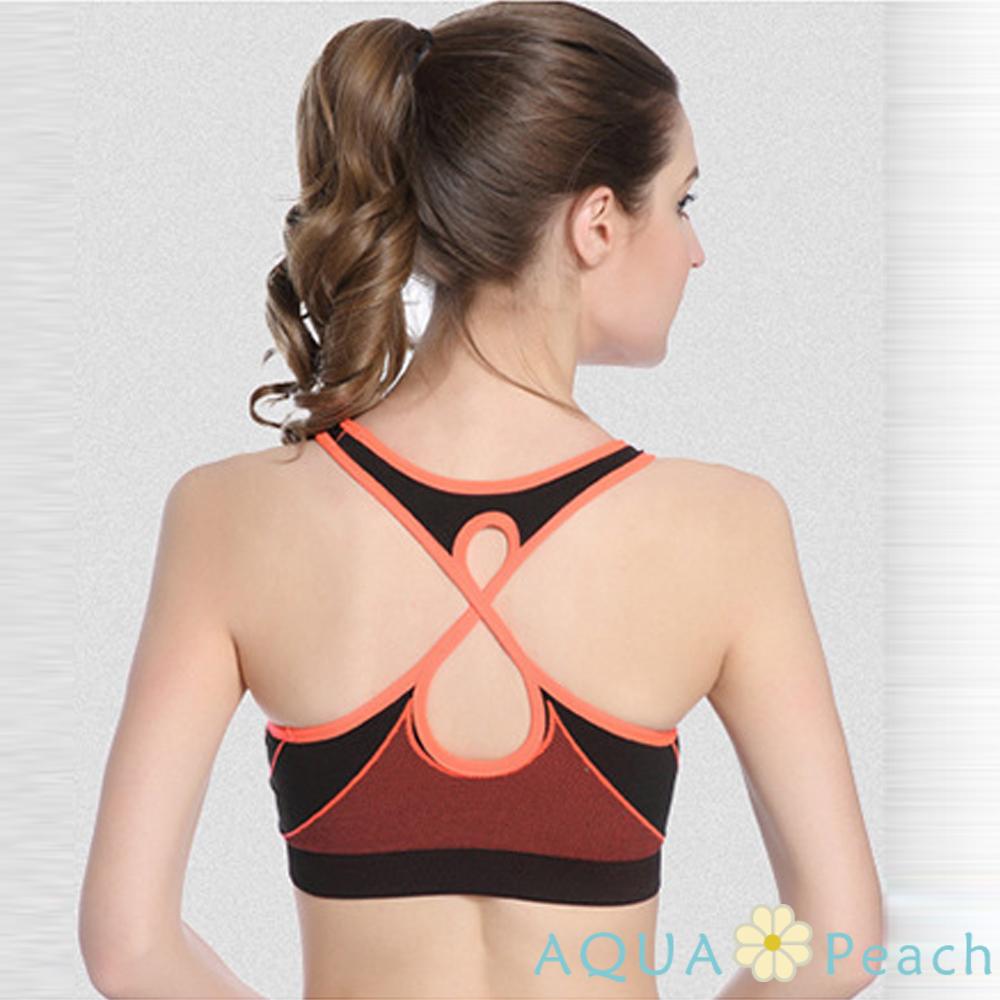 運動內衣 X型美背線條設計無鋼圈運動背心 (橘色)-AQUA Peach