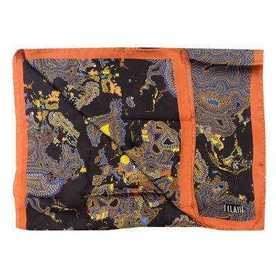 Alviero Martini 義大利地圖 彩圖繪絲巾-橘邊/可可(70X200)