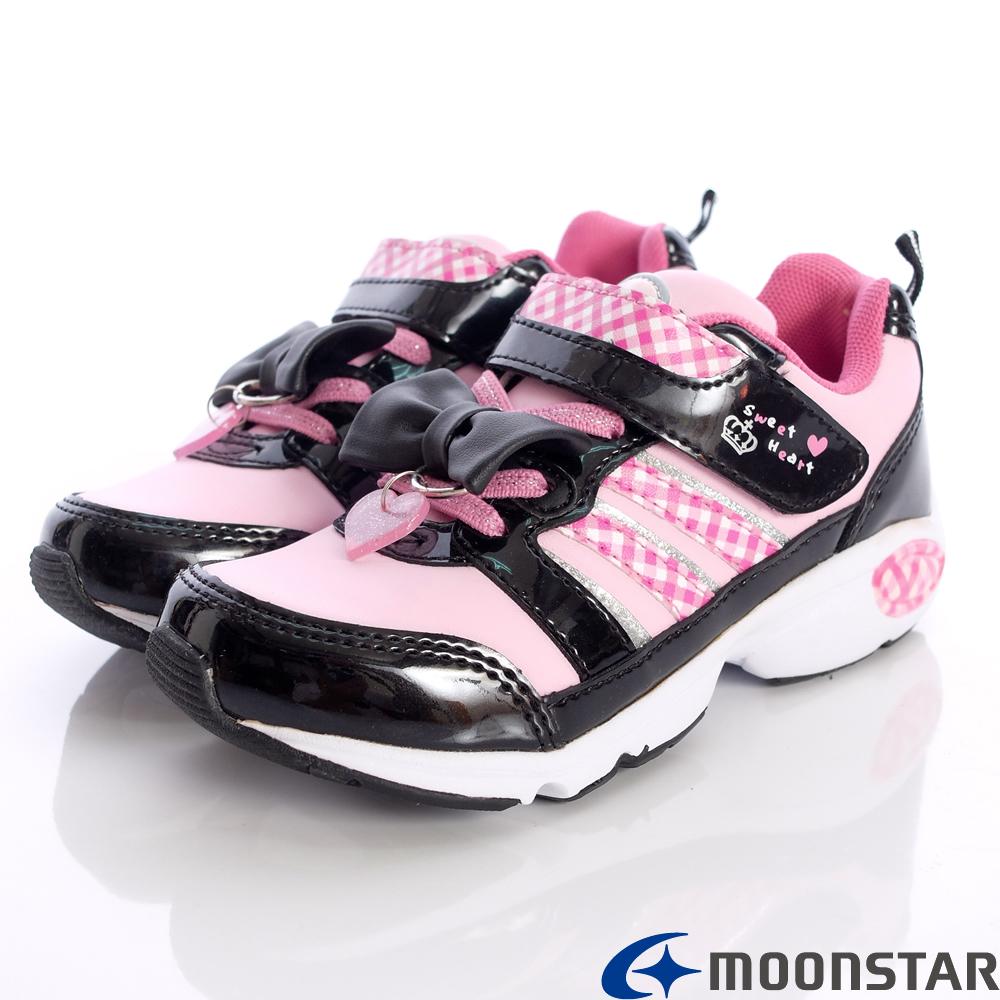 日本月星甜心機能鞋~全新進化格紋款-3526黑粉(大童段)