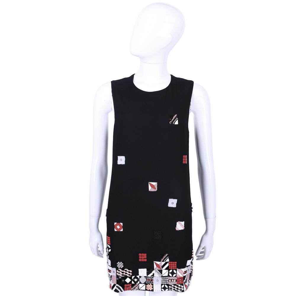 MSGM 黑色不規則串珠飾無袖洋裝