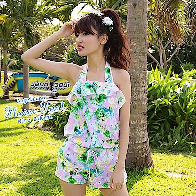 【AngelLuna日本泳裝】水彩風印花三件式比基尼泳衣-紫色