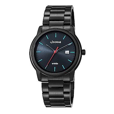 LICORNE力抗錶 品味時光都會手錶 黑藍x黑/42mm