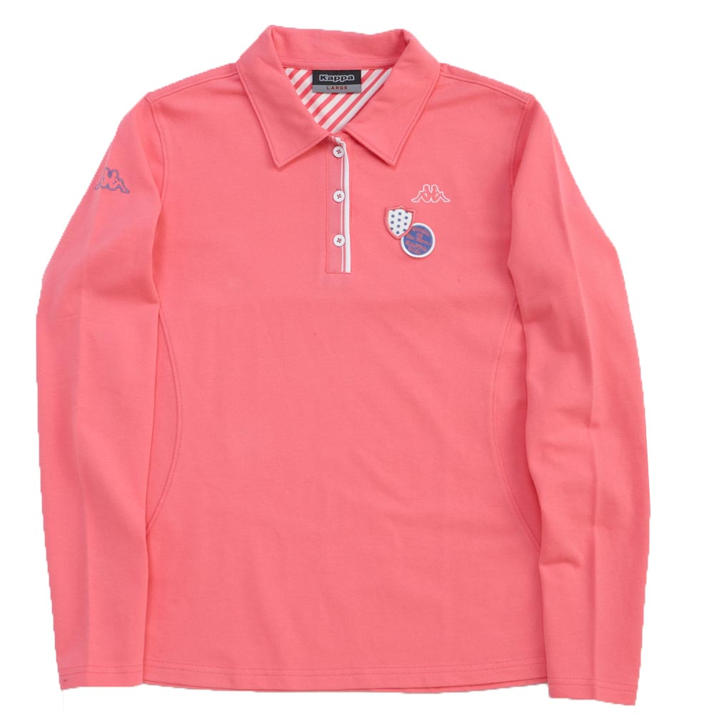 KAPPA義大利時尚女棉質長袖Polo衫~薔薇粉