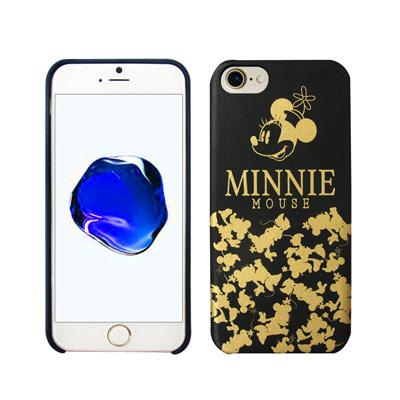 迪士尼授權 經典剪影 iPhone 8/iPhone 7 燙金皮革手機殼(米妮)