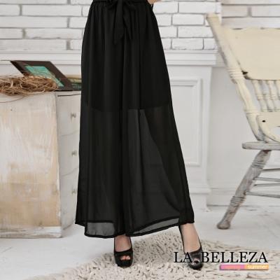 中大尺碼 雪紡綁帶寬管長褲裙-La Belleza