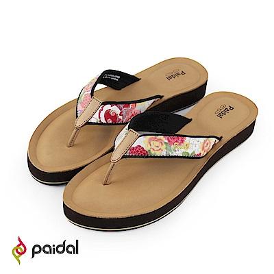 Paidal日本花布耳帶真皮鞋床厚底涼拖鞋
