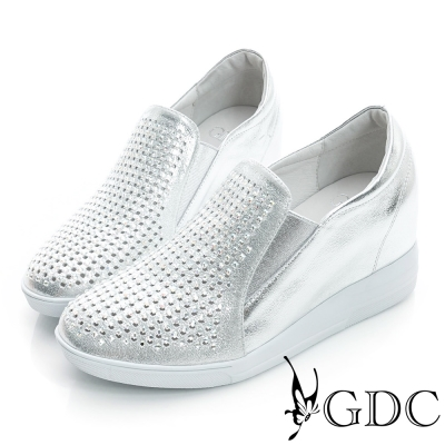 GDC舒適-韓風水鑽真皮內增高休閒鞋-銀色