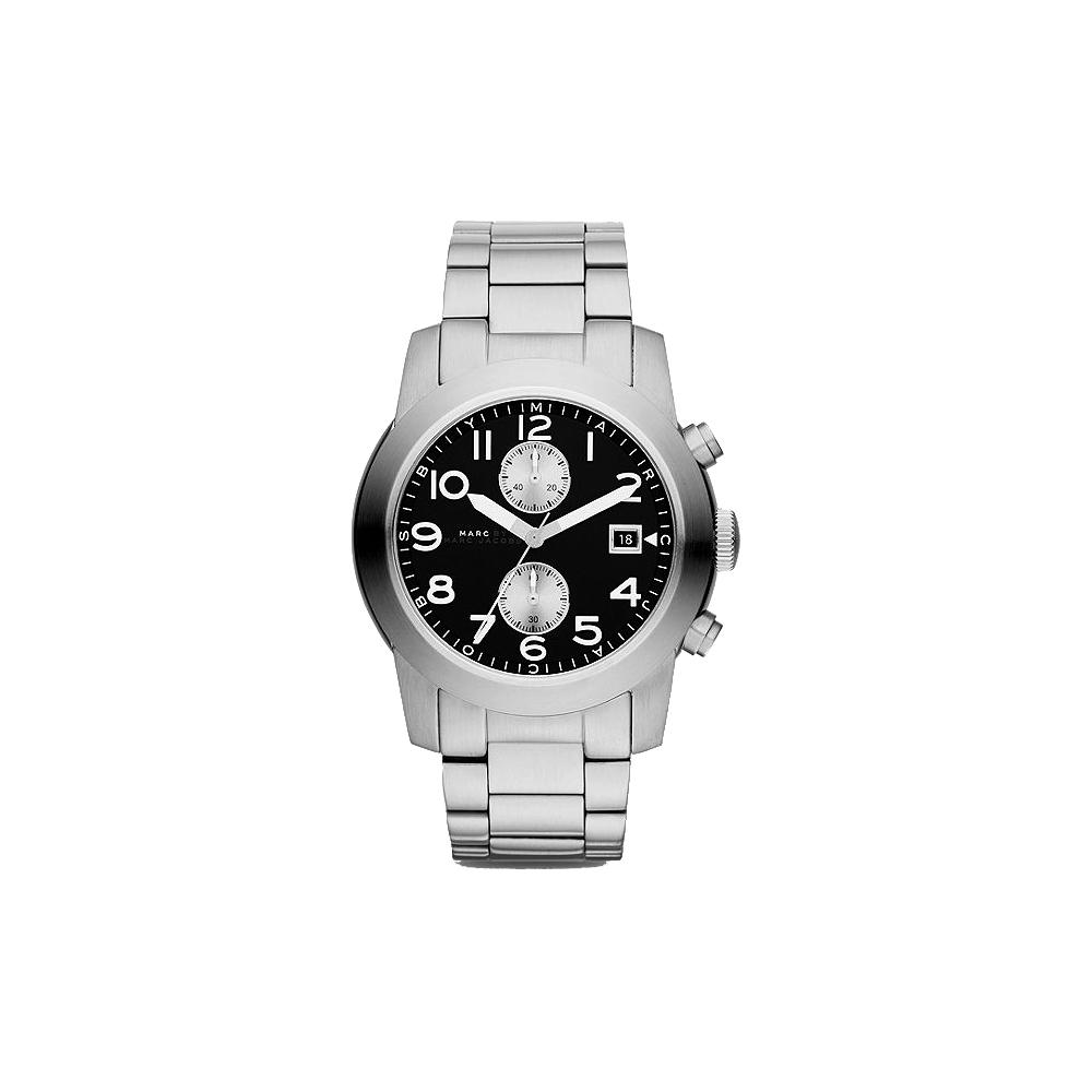 Marc Jacobs Larry 飛行時尚計時腕錶-黑/46mm