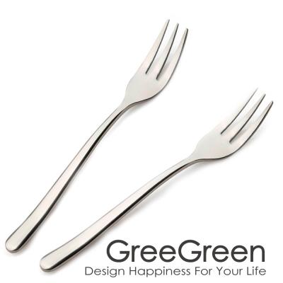 GREEGREEN 304不鏽鋼甜品叉 2入組 水果叉 叉子 餐具