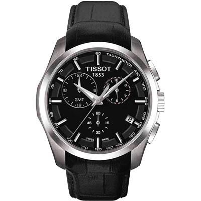 TISSOT Couturier GMT 建構師系列計時皮帶腕錶-黑/41mm